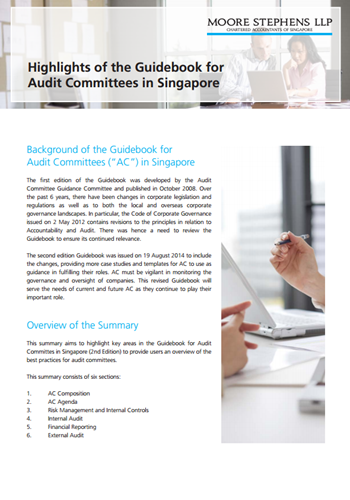 Alerts - Highlights of the Guidebook for Audit Committees in Singapore